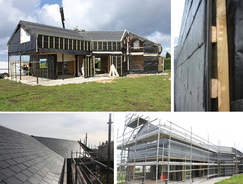 Passive house with slate tile roofing